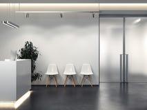 Schoon binnenland met ontvangst en rij van stoelen het 3d teruggeven stock illustratie
