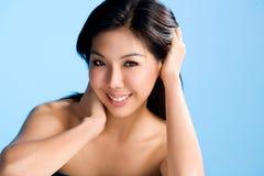 Schoon en mooi gezicht van Aziatische vrouw royalty-vrije stock afbeeldingen