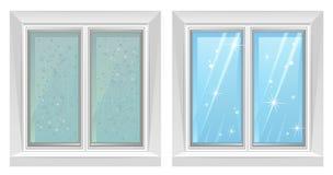 Schoon en vuil venster royalty-vrije illustratie
