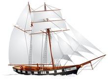 schooner ветрила вниз Стоковые Фотографии RF