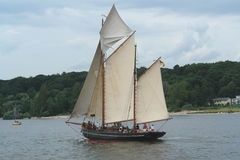 Schooner. Historic schooner on Elbe river, Germany royalty free stock photos