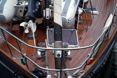 Schooner Deck. Sailboat deck with rolling furler and dinghy Royalty Free Stock Photography