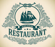 Schooner - fine dining restaurant label. Retro-styled fine dining restaurant label including the image of a sailboat. Editable vector illustration Royalty Free Stock Images