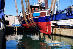 Schooner hauling in a dry dock Royalty Free Stock Photography
