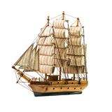Schooner isolated. Model of the wooden antique schooner isolated on white background royalty free stock photography