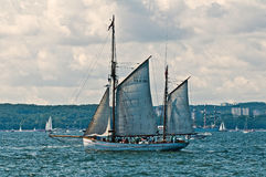 Schooner leaving harbor Stock Photos