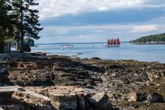 Schooner Margaret Todd in Bar Harbor, Maine. Sails around on a beautiful summer afternoon stock images