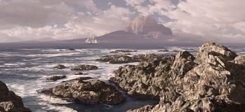 Schooner para fora ao mar ilustração royalty free