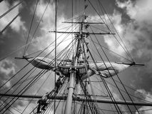Schooner rigging. Climbing the masts of a large schooner Stock Images