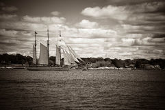 Schooner. Sailing of a large schooner Stock Image