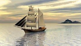 Schooner Sailing ship, 3d rendering. Eleven Schooner Sailing ship on calm sea digital 3D rendering Stock Photography