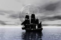 Schooner Sailing ship, 3d rendering. Eleven Schooner Sailing ship on calm sea digital 3D rendering Stock Image