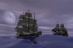 Schooner Sailing ship, 3d rendering. Eleven Schooner Sailing ship on calm sea digital 3D rendering Royalty Free Stock Photo