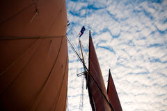 Schooner Sails with Sky of the Coast of Maine royalty free stock photo