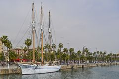 Schooner Santa Eulalia in the Marina at port , Barcelona royalty free stock photo