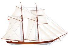 Schooner. Segelboot. Segelnbehälter Vektor Abbildung