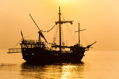 Schooner silhouette Royalty Free Stock Photo