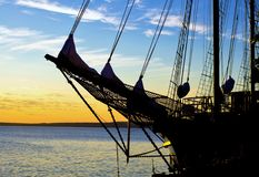 Schooner Sunrise Stock Photo