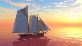 Schooner at Sunset Stock Photo
