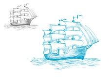 Schooner under full sail on the ocean Stock Images