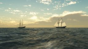 Schooners at Sea. Two sailing ships on an empty ocean, 3d digitally rendered illustration Stock Images