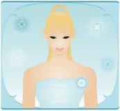 Schoonheid in Blauwe Kleding Royalty-vrije Stock Afbeelding