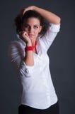 Schoonheid Dame With Red Jewelry royalty-vrije stock foto's