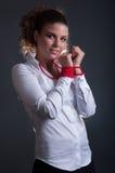 Schoonheid Dame With Red Jewelry stock fotografie