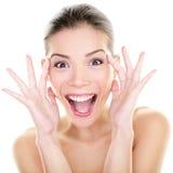 Schoonheid - de gelukkige grappige Aziatische uitdrukking van het vrouwengezicht Royalty-vrije Stock Foto
