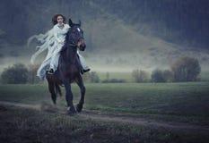 Schoonheid die een paard berijdt Stock Foto's