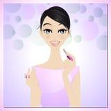 Schoonheid die lippenstift toepast Royalty-vrije Stock Fotografie
