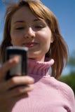 Schoonheid en de telefoon royalty-vrije stock foto's