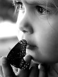 Schoonheid en de vlinder Royalty-vrije Stock Afbeeldingen
