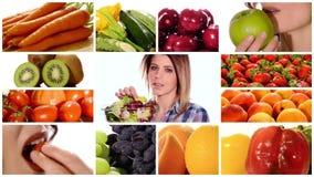 Schoonheid en gezond voedsel stock footage