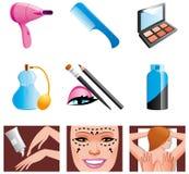 Schoonheid en kosmetische pictogrammen Stock Fotografie