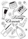 Schoonheid en make-upelementen Stock Afbeeldingen