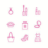 Schoonheid en make-uppictogram in in lineaire stijl wordt geplaatst die Stock Afbeeldingen