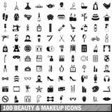 100 schoonheid en make-uppictogrammen die in eenvoudige stijl worden geplaatst Royalty-vrije Stock Foto's