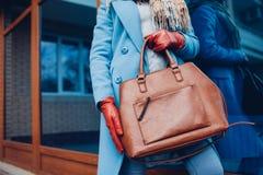 Schoonheid en manier Modieuze modieuze vrouw die laag en handschoenen dragen, die bruine zakhandtas houden royalty-vrije stock afbeelding
