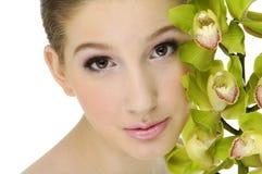 Schoonheid en orchidee stock foto
