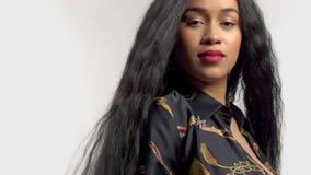 Schoonheid gemengd ras Afrikaans Amerikaans model in studioportretten met lange haarpruik stock footage