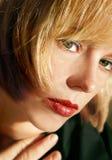 Schoonheid - gezichtsclose-up stock foto