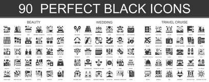 90 schoonheid, huwelijk, klassieke zwarte mini het conceptensymbolen van de reiscruise De vector moderne geplaatste illustraties  royalty-vrije illustratie