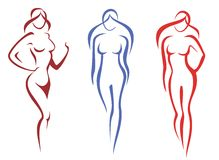 Schoonheid, manierconcept. reeks vrouwensilhoettes Stock Fotografie