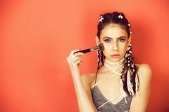 schoonheid, manierfoto van meisje of vrouw met modieuze make-up stock afbeelding