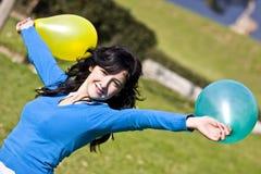 Schoonheid met ballons Royalty-vrije Stock Foto's