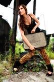 Schoonheid met koffer. Royalty-vrije Stock Fotografie