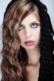 Schoonheid met lang blond haar Stock Afbeelding