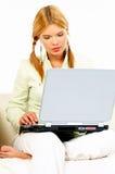 Schoonheid met laptop stock foto's