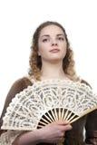 Schoonheid met ventilator in middeleeuwse kleding Stock Foto